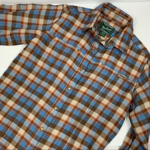 Woolrich Blue Brown Beige Plaid Flannel Snap Shirt